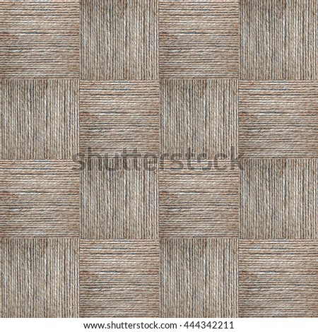 Squares hemp rope texture in a checkerboard pattern - stock photo