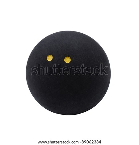 Squash ball with two dots isolated on the white background - stock photo