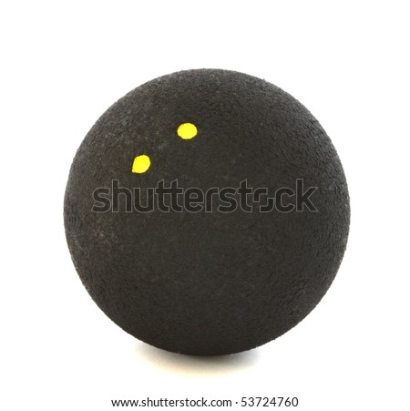 Squash ball with two yellow dots on white background - stock photo