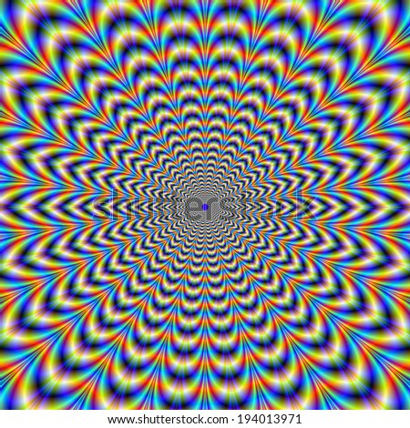 Squashed Pulse / A digital abstract fractal image with a pulsing psychedelic design producing an optical illusion of movement in blue yellow and red. - stock photo