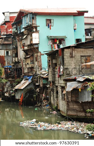Squatter Shacks and Houses in a Slum Urban Area - stock photo
