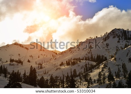 Squaw Valley ski resort in late afternoon. - stock photo