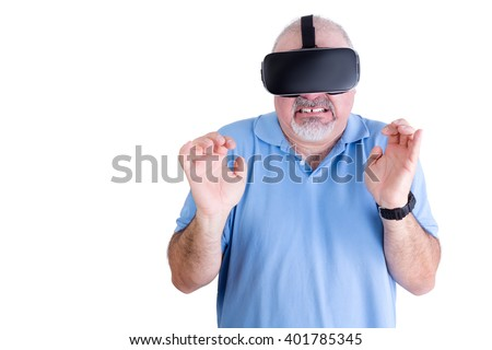 Squeamish man in blue against a white background wearing virtual reality glasses and a black wrist watch