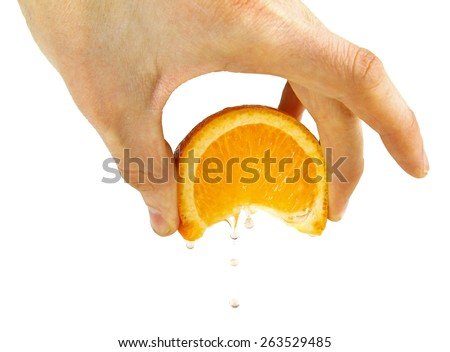 squeeze orange in hand, isolated on a white - stock photo