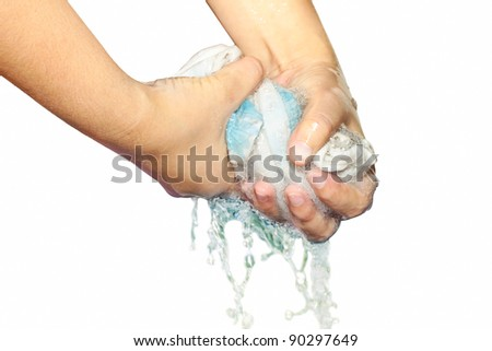 squeeze wet fabric - stock photo