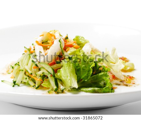 Squid and Fish Salad with Vegetable - stock photo