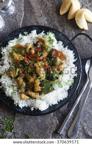 Squid in black bean sauce with boiled rice - stock photo