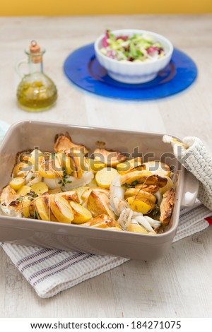 squid with roast potatoes