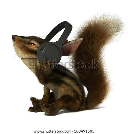 Squirrel in the headphones - stock photo