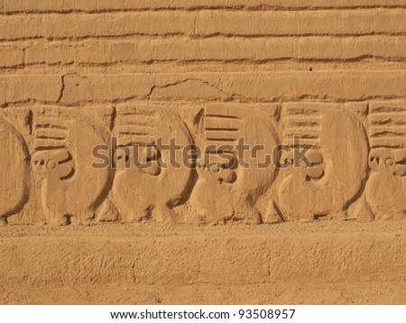 Squirrel ornament at Chan Chan temple ruins in Peru - stock photo