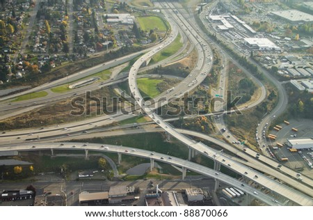 SR16 ends at I-5 in Tacoma, WA - aerial view