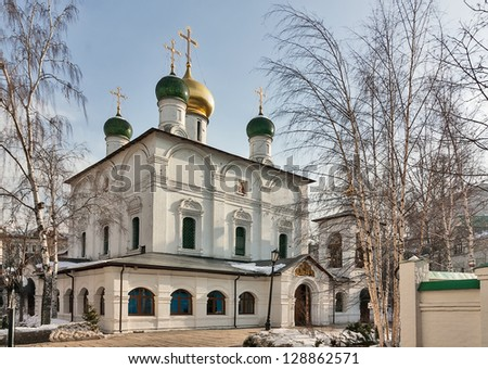 Sretensky Monastery is a monastery in Moscow, founded by Grand Prince Vasili I in 1397. Cathedral of the Meeting of the Icon of Our Lady of Vladimir - stock photo