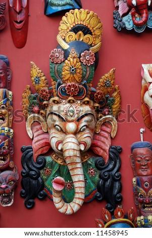 Sri Ganesha mask,  made of wood, nepal - stock photo