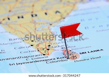 Sri Jayewardenepura Kotte Pinned On Map Stock Photo Royalty Free