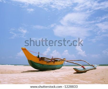 Sri Lanakan fishing boat - stock photo