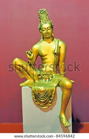 Sri Lanka ancient girl bronze statue - stock photo