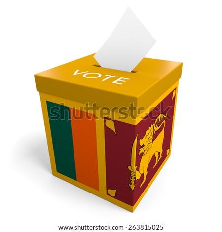 Sri Lanka election ballot box for collecting votes - stock photo