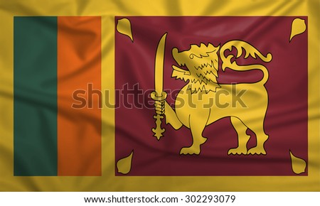 Sri Lanka flag blowing in the wind. Background texture. - stock photo