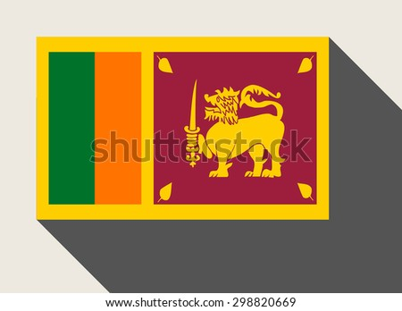 Sri Lanka flag in flat web design style. - stock photo