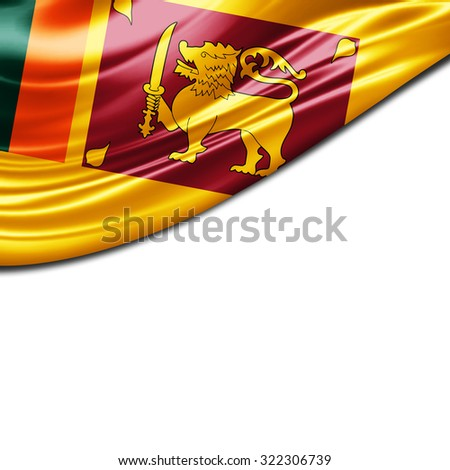 Sri Lanka  flag of silk with copyspace for your text or images and White background - stock photo