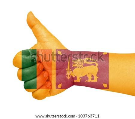 Sri Lanka flag on thumb up gesture like icon on white background - stock photo