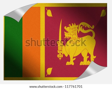 Sri Lanka flag painted on page sheet with folded corners - stock photo