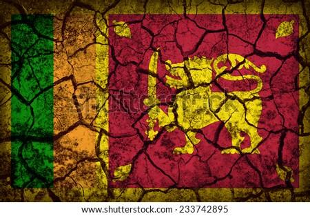 Sri Lanka flag pattern on the crack soil texture ,retro vintage style - stock photo