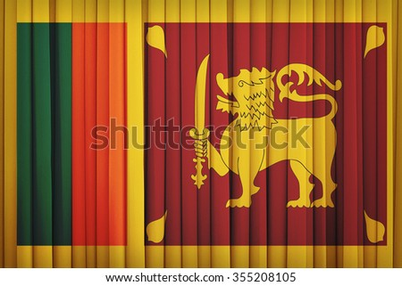 Sri Lanka flag pattern on the fabric curtain,vintage style - stock photo