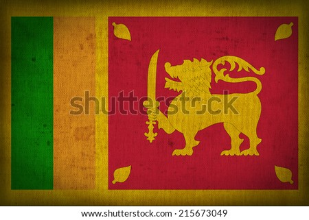 Sri Lanka flag pattern on the fabric texture ,retro vintage style - stock photo