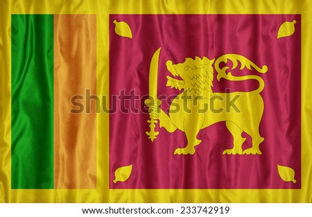 Sri Lanka flag pattern on the fabric texture , vintage style - stock photo