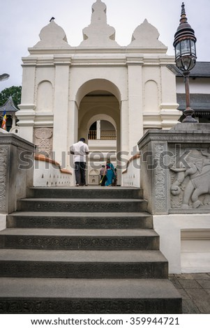 Sri Lanka. Kandy - August 16, 2015. The Tooth of Buddah Temple (The Temple of the Tooth Relic). Territory Of The Temple. The entrance to the Temple.