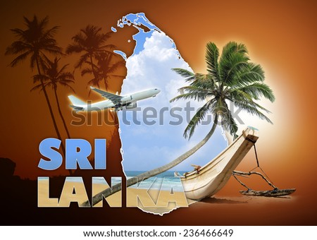 Sri Lanka travel concept on brown background - stock photo