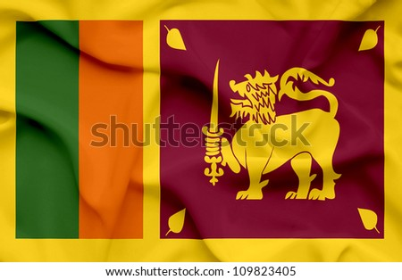 Sri Lanka waving flag - stock photo