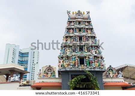 Sri Mariamman Temple is Singapore's Hindu temple - stock photo