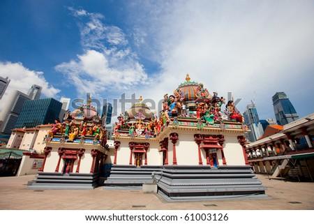 Sri Mariamman the oldest Hindu temple in Singapore - stock photo