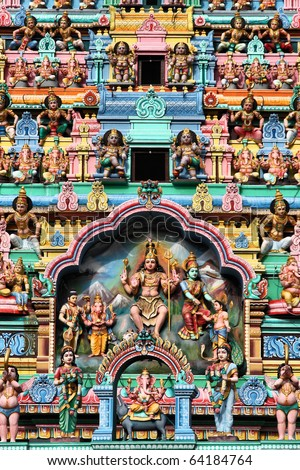 Sri Veeramakaliamman Temple in Singapore. Hindu art. Colorful sculptures. - stock photo