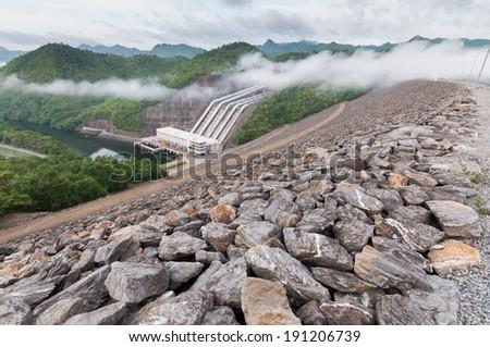 Srinakarin dam in cloudy day , Thailand - stock photo