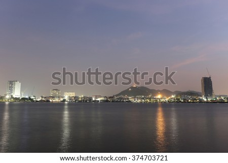 Sriracha city in twilight picture style,atmosphere seaside town,Thailand.