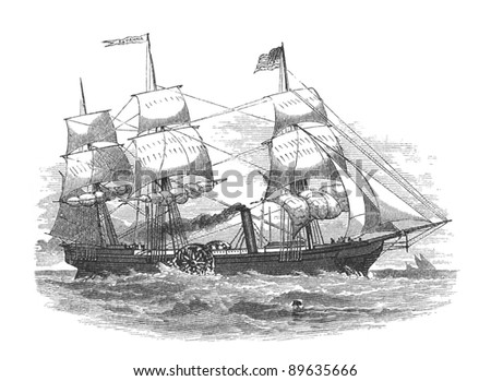 SS Savannah, hybrid sailing ship/sidewheel steamer, the first steamship in the world to cross the Atlantic Ocean in 1819. Engraving by unknown artist from Harper's Monthly Magazine, february 1877. - stock photo