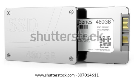 SSD hard disk isolated on white background