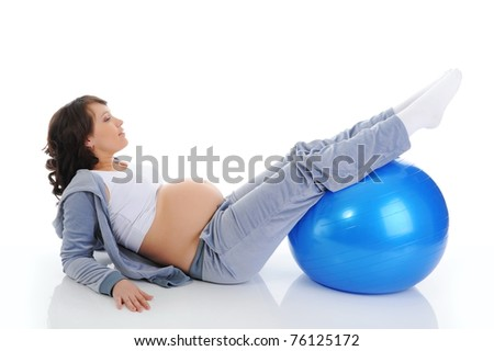 ssports pregnant woman. Isolated on white background - stock photo