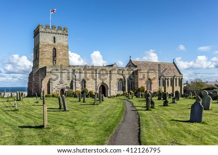 St Aidans church in Bamburgh Northumberland the cemetery where Grace Darling is buried