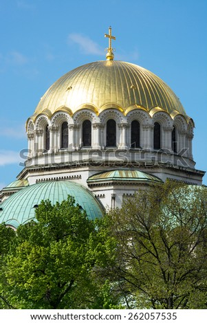 St. Alexander Nevsky Cathedral is Bulgarian Orthodox cathedral in Sofia. - stock photo