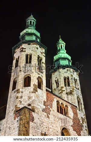St Andrew's Church in Krakow at Night