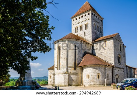 St Andrew's church in Sauveterre-de-Bearn, France. - stock photo