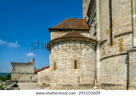 St Andrew's church, Sauveterre-de-Bearn. - stock photo