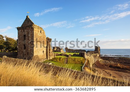 St Andrews Castle ruins, Fife, Scotland. - stock photo