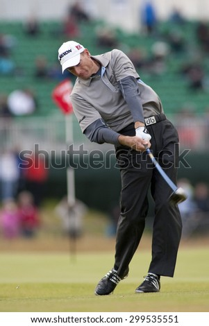 ST ANDREWS, SCOTLAND. July 15 2010: Jim FURYK from the USA in action on the first day of The Open Championship   played on The Royal and Ancient Old Course - stock photo