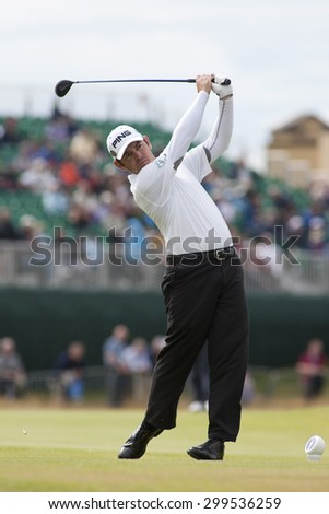 ST ANDREWS, SCOTLAND. July 15 2010: Louis OOSTHUIZEN from South Africa in action on the first day of The Open Championship   played on The Royal and Ancient Old Course - stock photo