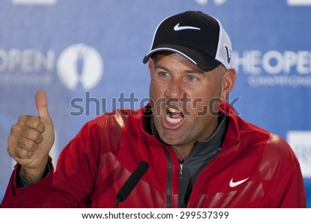 ST ANDREWS, SCOTLAND. July 14 2010: Stewart CINK from the USA during his press conference on a preview day for The Open Championship   played on The Royal and Ancient Old Course - stock photo